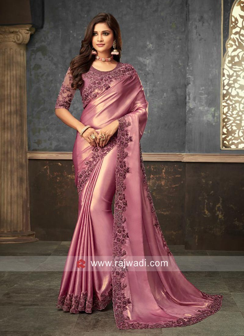 Satin Silk Saree with Cut Work Border