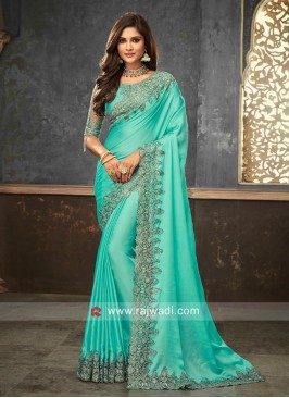 Satin Silk Saree with Raw Silk and Net Blouse