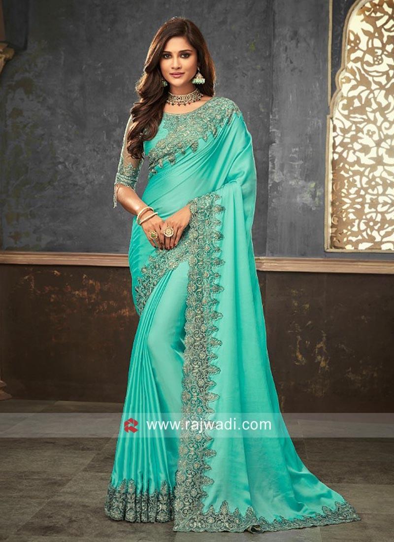 Satin Silk Saree with Raw Silk and Net Blouse