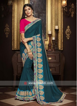 Satin Silk Saree with Raw Silk Blouse