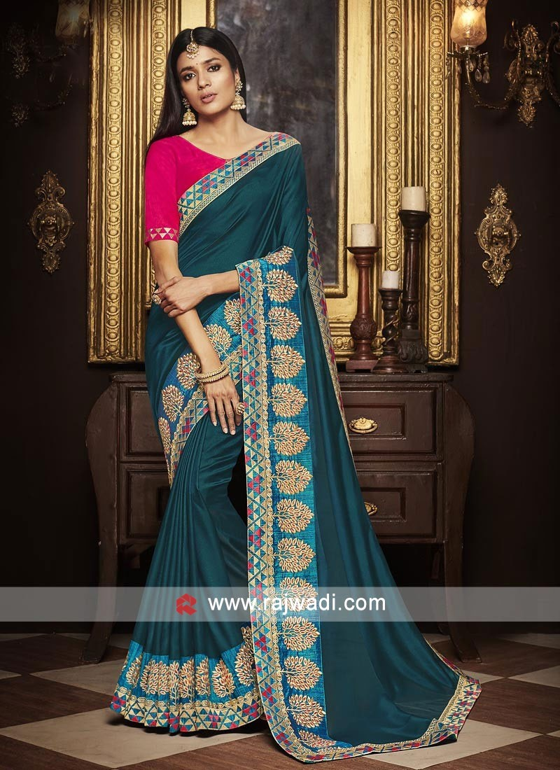 55f00dfe6a38a Satin Silk Saree with Raw Silk Blouse. Hover to zoom