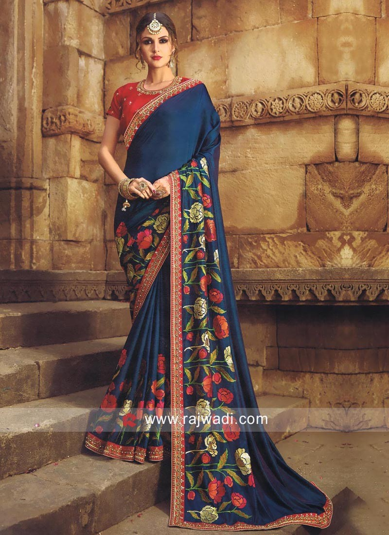 Satin Silk Sari with Raw Silk Blouse