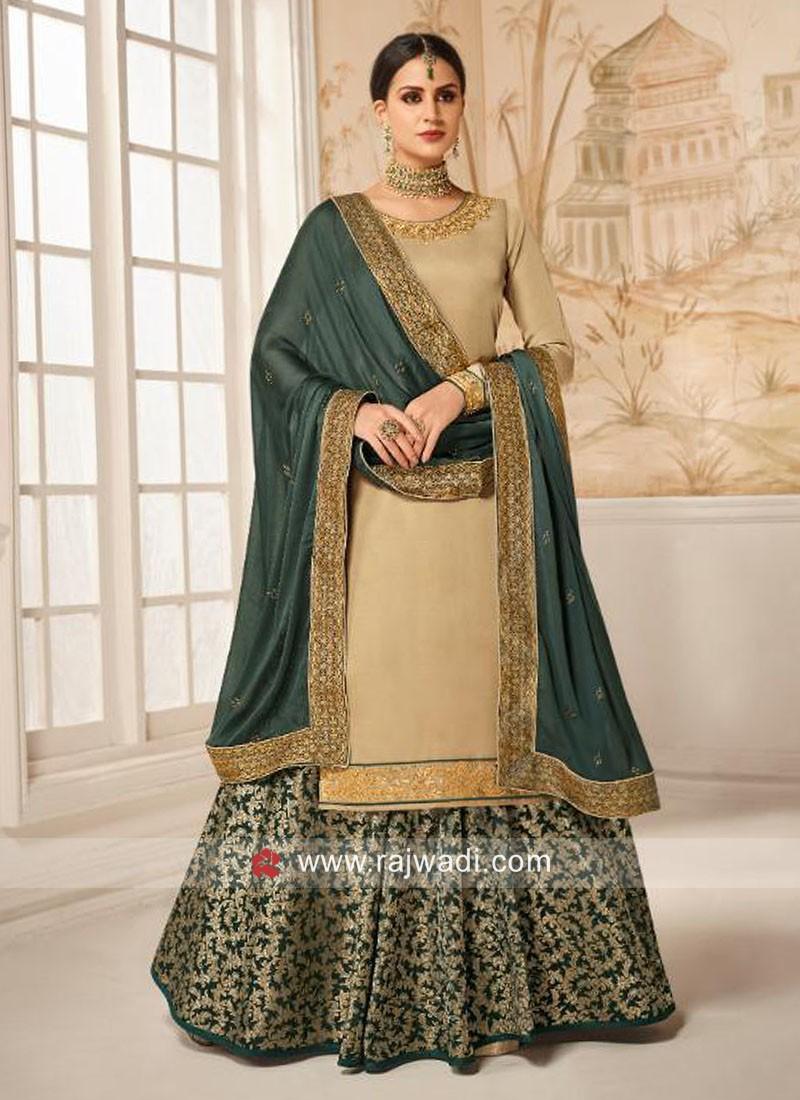 Satin Silk Semi Stitched Salwar Kameez
