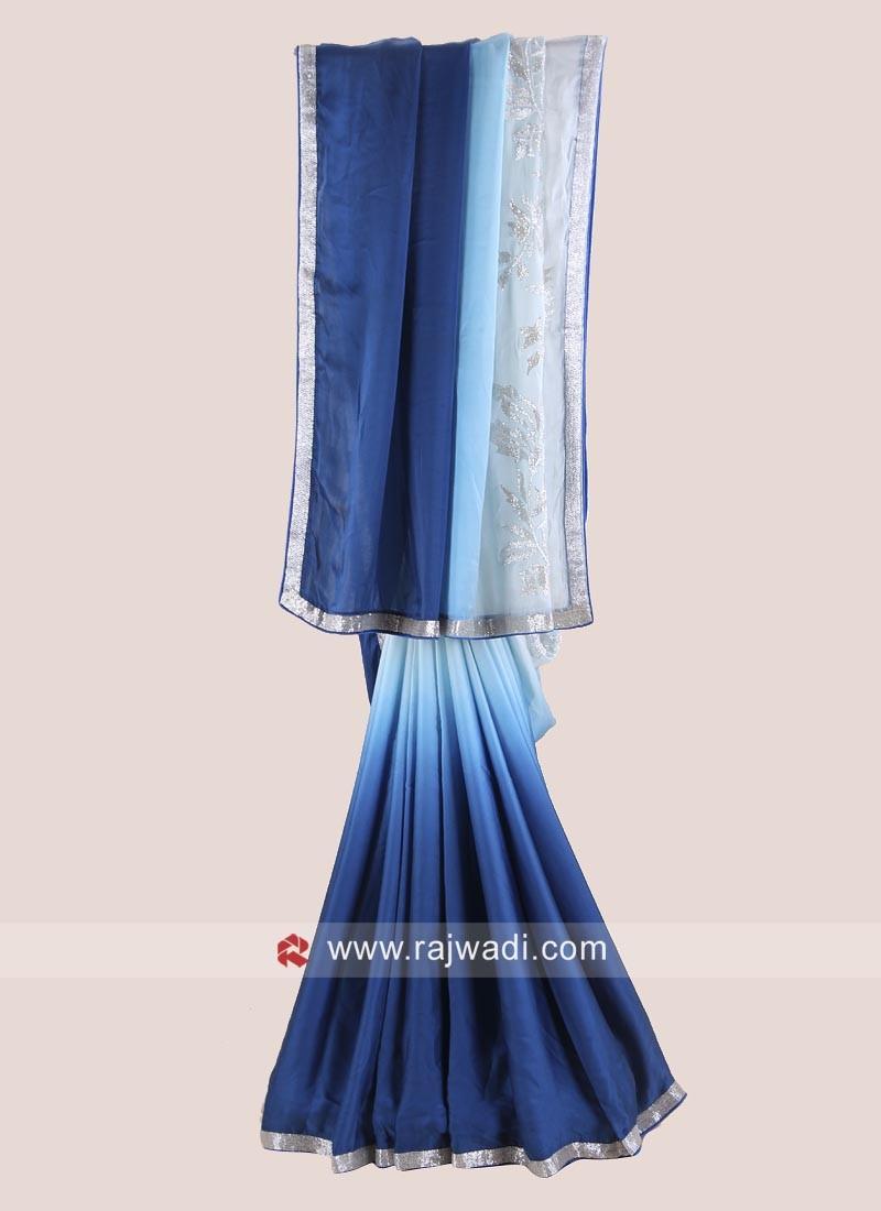 Satin Silk Shaded Party Wear Saree