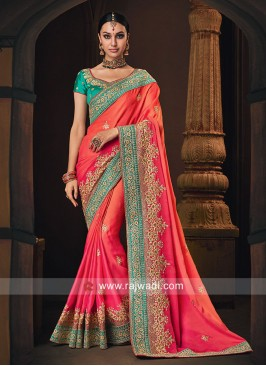 Satin Silk Shaded Saree for Wedding