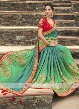 Satin Silk Shaded Saree In Green