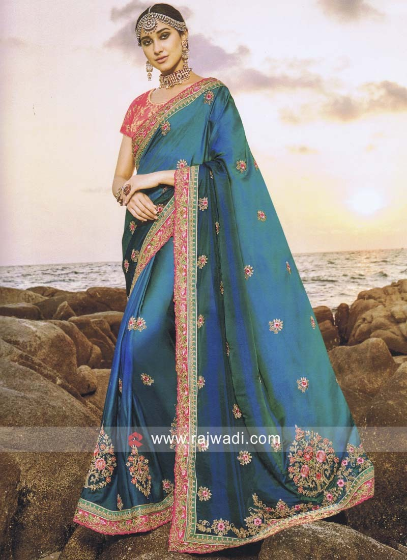 Satin Silk Shaded Saree with Blouse