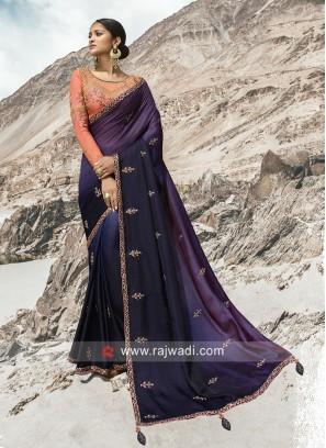 Satin Silk Shaded Saree with Blouse