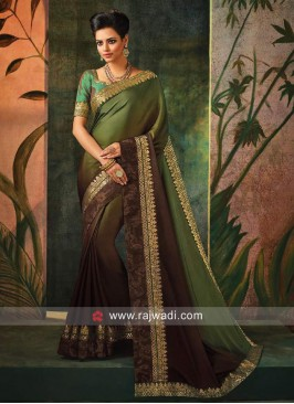 Satin Silk Shaded Sari with Blouse