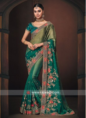 Satin Silk Shaded Wedding Saree