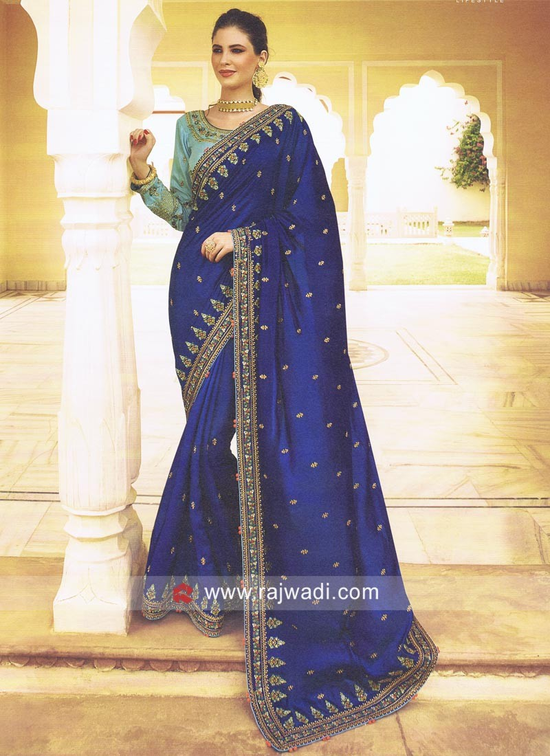 Satin Silk Stone Work Sari in Blue