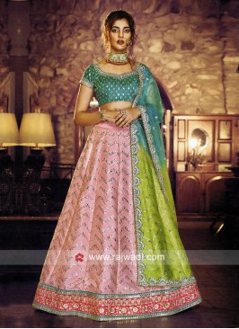 Satin Silk Unstitched Lehenga Choli