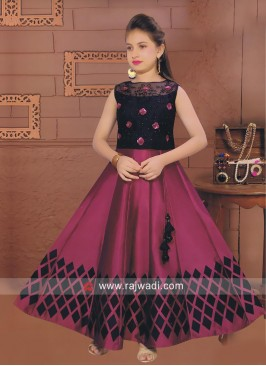 Satin Silk Wedding Choli Suit for Kids