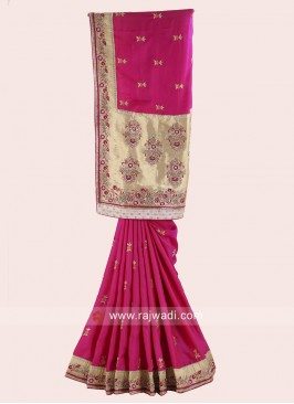 Satin Silk Wedding Saree with Blouse