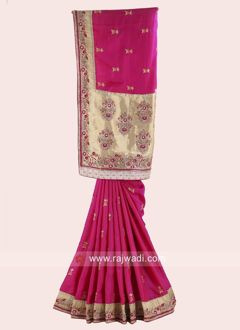 Satin Silk Wedding Saree with Blouse