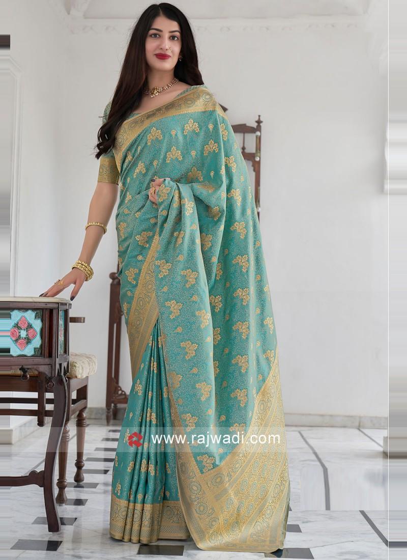Satin Silk Woven Traditional Saree in Aqua Blue