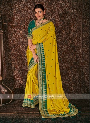 Satin Silk Yellow Color Saree