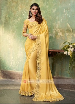 Satin Silk Yellow Saree
