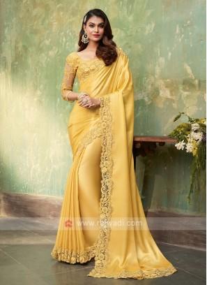 Satin Silk Yellow Saree