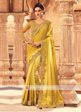 Satin Silk Yellow Saree With Blouse