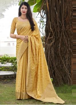 Satin Silk Yellow Traditional Saree