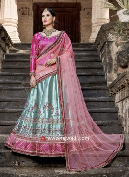 Satin Unstitched Lehenga Choli