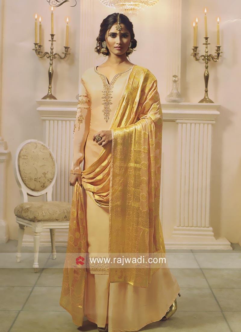 Satin Wedding Palazzo Suit in Cream