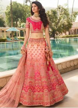 Scintillating Rose Pink Patch Border Silk Lehenga Choli