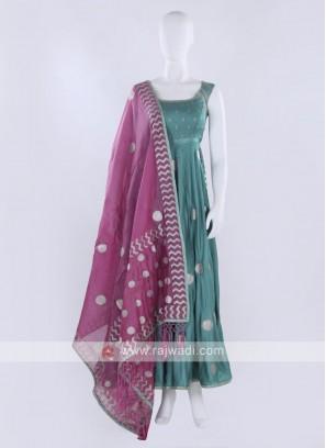 Sea Green Anarkali Suit with dupatta