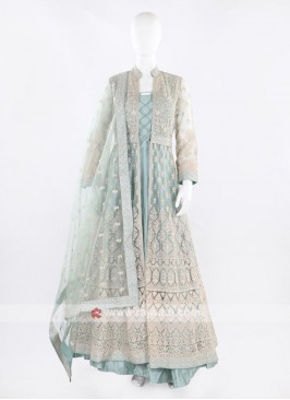 Sea Green Anarkali Suit with dupatta