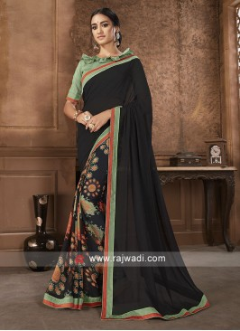 Sea Green And Black Saree