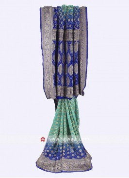Sea Green and blue chiffon saree