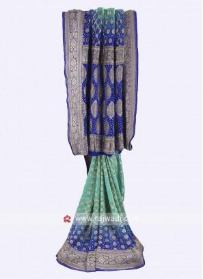 Sea Green and blue chiffon saree