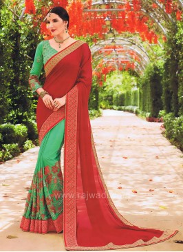 Sea Green and Crimson Half Saree