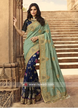 Sea Green and Dark Blue Half N Half Saree