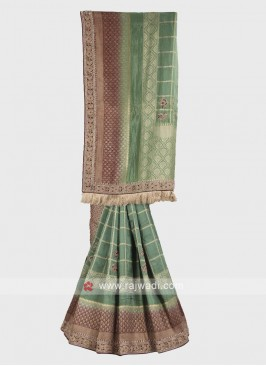 Sea green and dark maroon banarasi silk saree