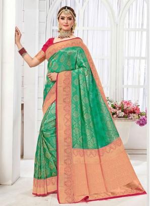Sea Green And Gajari Pink Color Banarasi Silk Saree