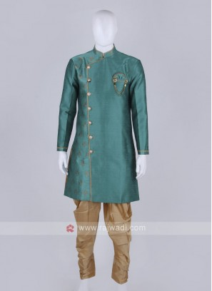 sea green and golden Patiala Suit