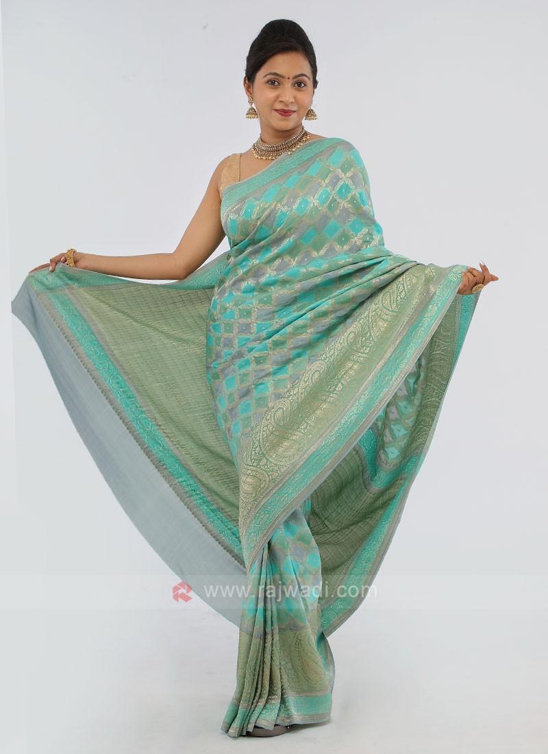 Sea Green And Grey Chiffon Silk Saree
