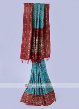 Sea Green And Maroon Color Banarasi Silk Saree