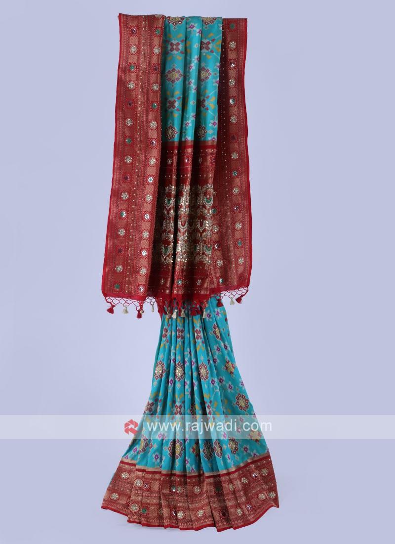 Sea Green And Maroon Color Banarasi Silk Saree
