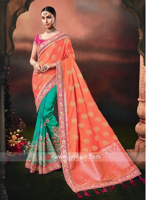 Sea Green and Orange Half n Half Saree
