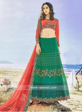Sea Green and Peach A Line Lehenga