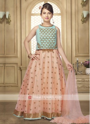 Sea green and peach color lehenga choli
