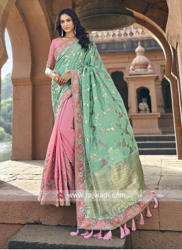 Sea green and pink banarasi silk saree