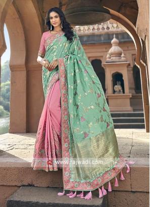 Sea green and pink banarasi silk saree