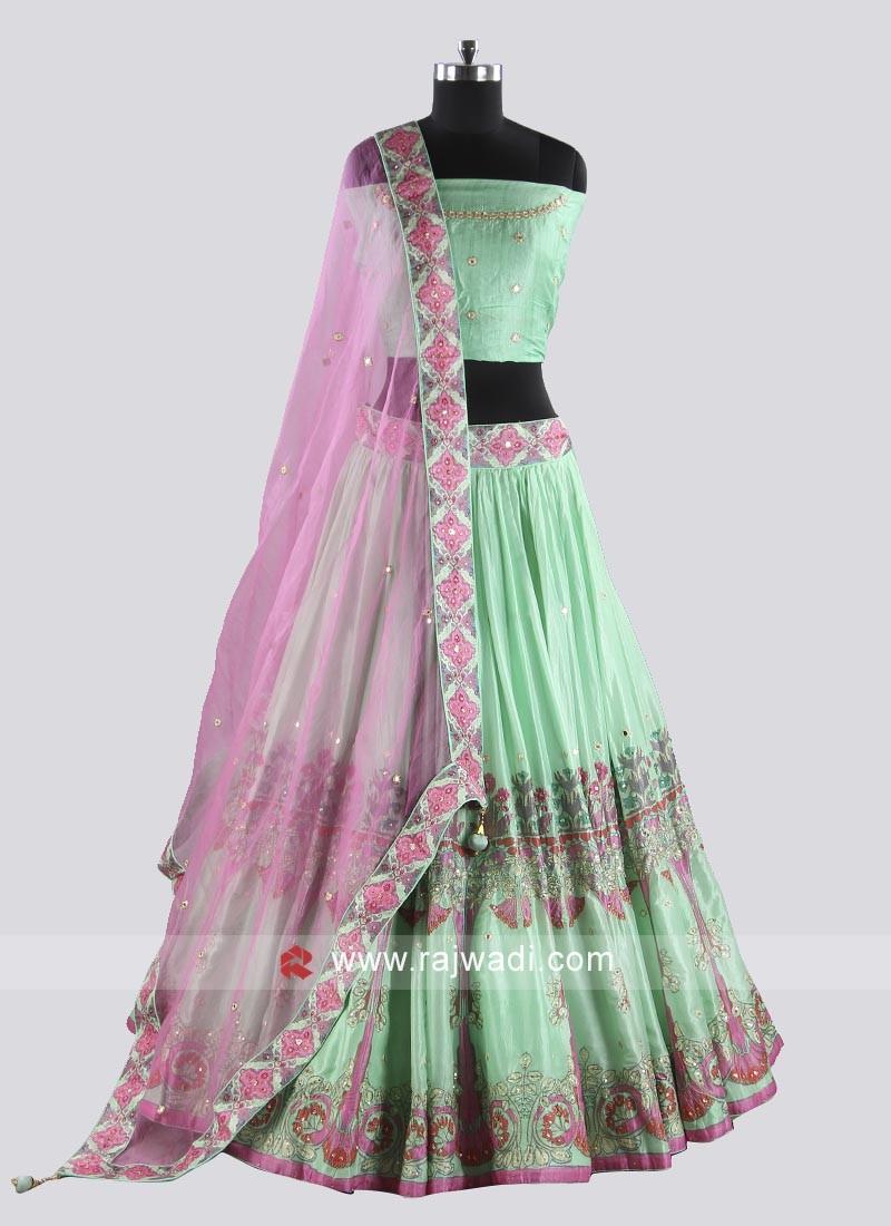 Sea Green and pink lehenga choli