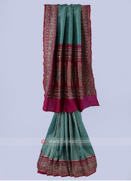 Sea Green And Rani Banarasi Silk Saree