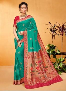 Sea Green And Red Color Banarsasi Silk Saree