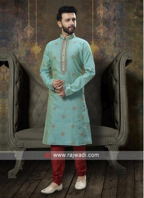 Sea Green And Red Kurta Pajama